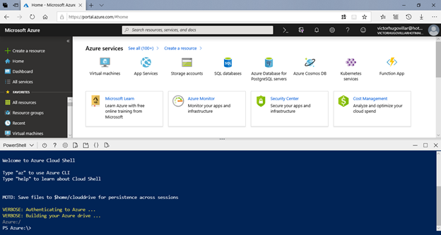 Using the Cloud Shell in MS Azure to create a virtual